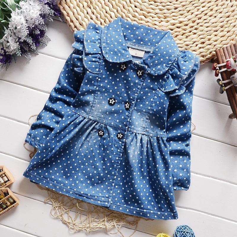 BibiCola Frühling neue Kinder Mädchen schöne Polka Dots Denim Jacke weibliche Baby Baumwolle Jean Revers Mantel Kinder Kaiser Outfits