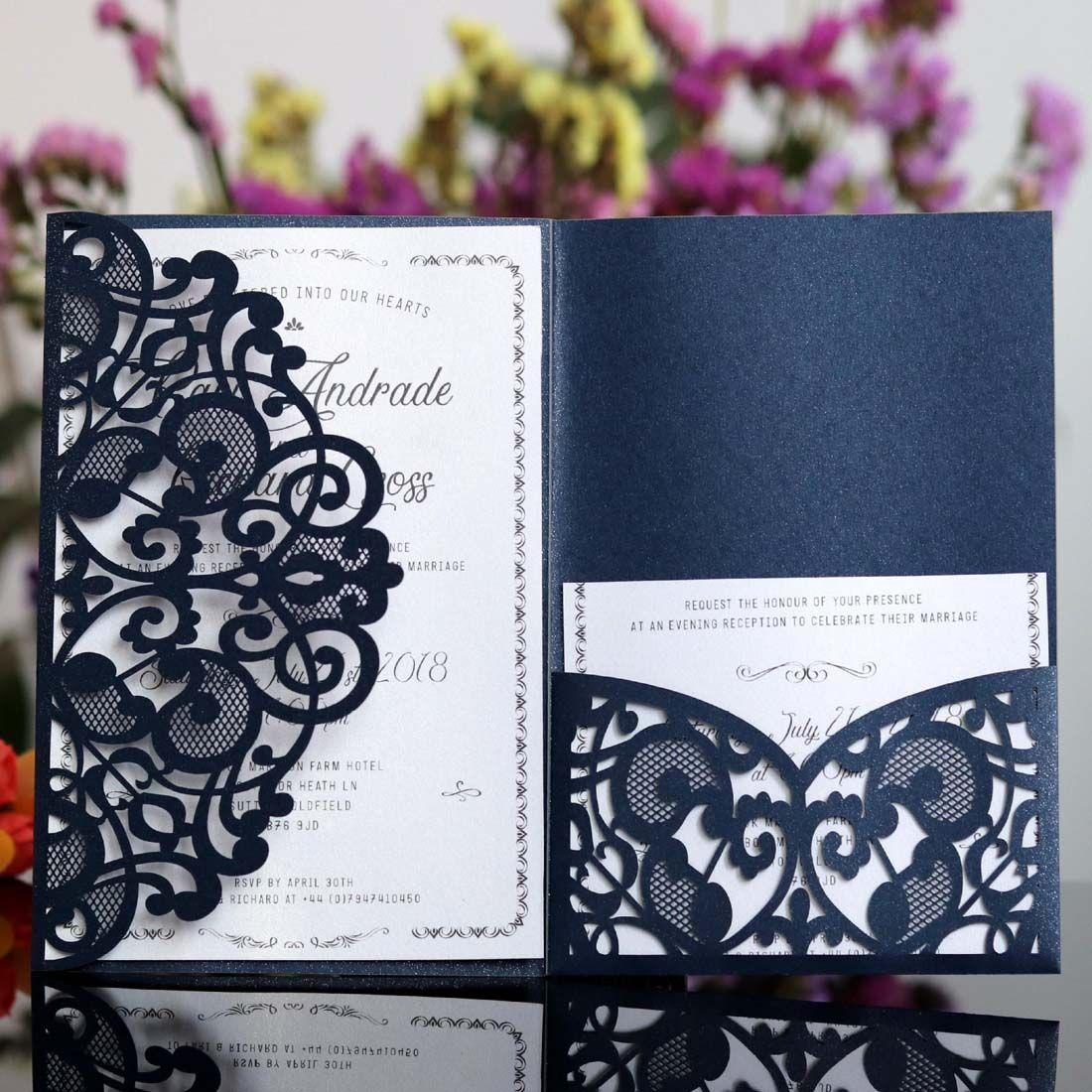 d0b6b7bd08203 Compre Laser Cut Invitaciones De Boda Blanco Azul Marino Diseño Elegante  Para Tarjetas De Invitación De Fiesta De Cumpleaños De Matrimonio Con  Tarjeta RSVP ...