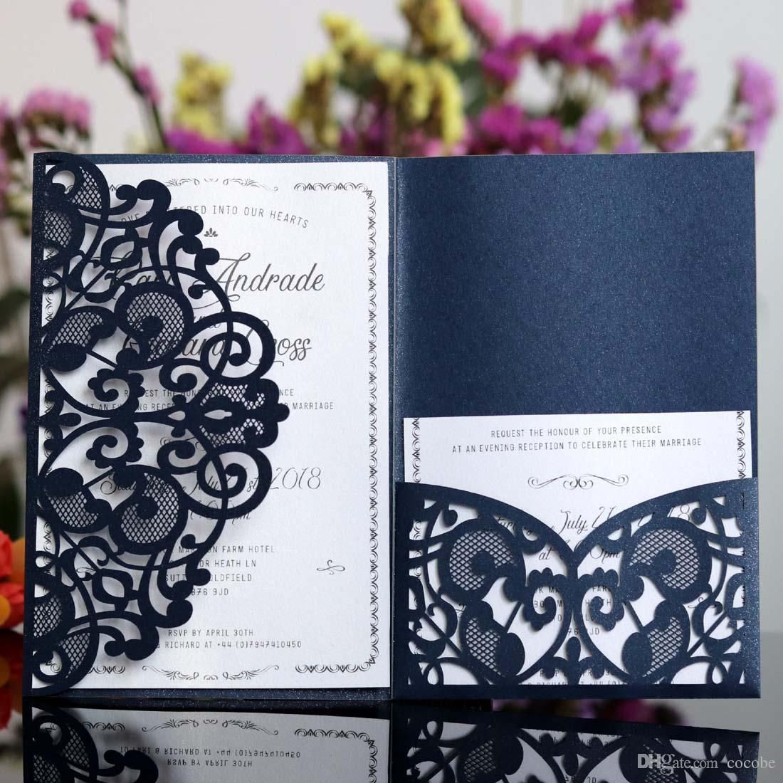 Laser Cut Wedding Invitations White Navy Blue Design Elegant For