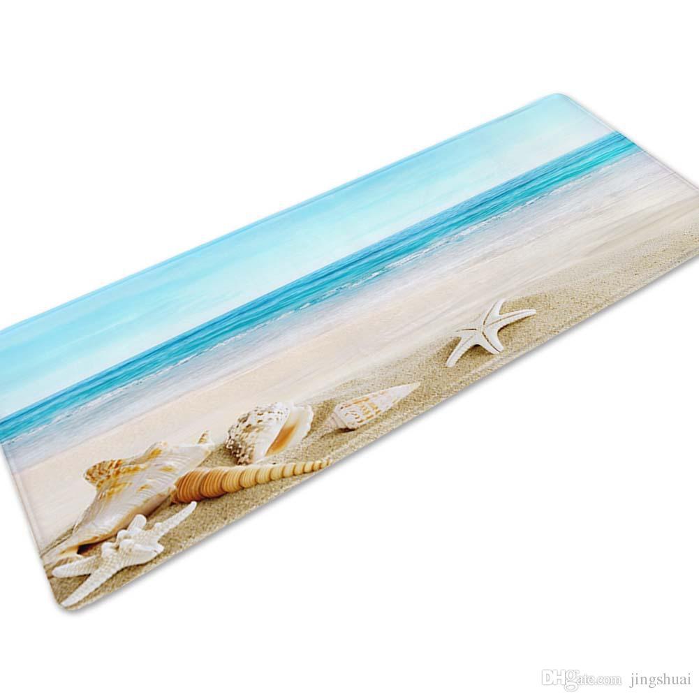 Long Anti Slip Door Mat Beach Sea Shell Pattern Soft Bathroom Rug Floor Mat  Carpet Sofa