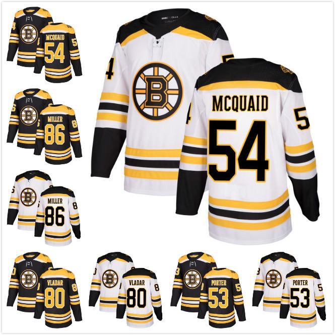 official photos 7fdd0 a0475 2017 Wholesale Cheap Mens Boston Bruins 54 Adam McQuaid 86 Kevan Miller 80  Daniel Vladar 53 Chris Porter Ice Hockey Jerseys White Black