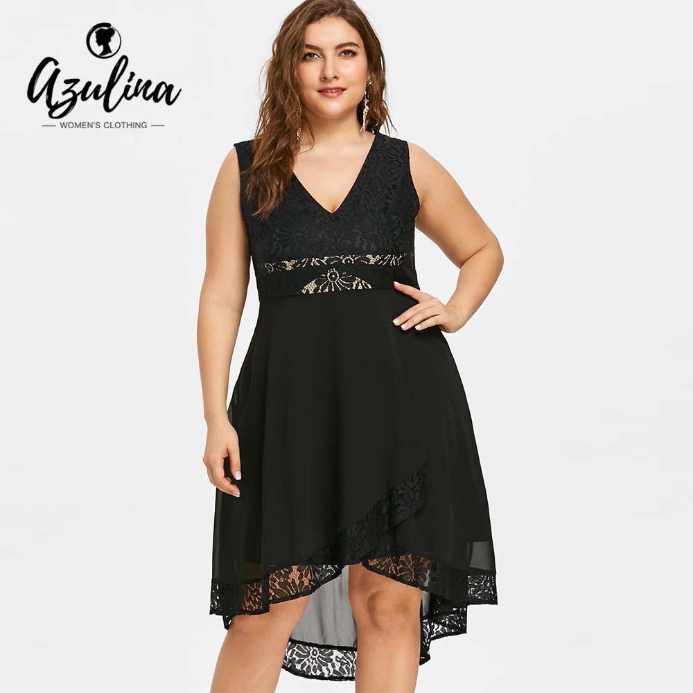 92081530b Compre AZULINA Tallas Grandes Vestido De Encaje De Cintura Alta Vestido De  Fiesta De Las Mujeres Robe Mujer Verano V Cuello Sin Mangas Negro  Asimétrico ...