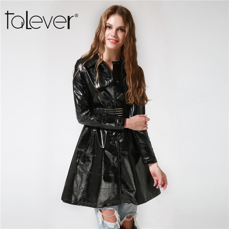 84962f881f2 2019 2017 Autumn Black Women S Faux Leather Trench Coat Slim Solid Winter  Coat Belt Long Trench Female Outerwear Plus Size Talever D1892904 From  Yizhan05