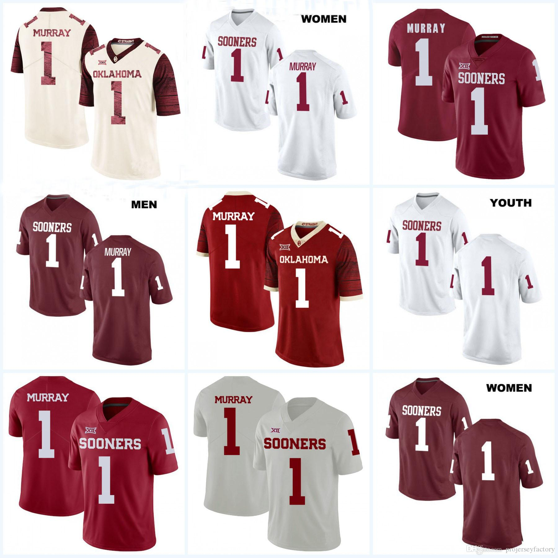 hot sale online 7b097 e540c #1 Kyler Murray Oklahoma Sooners NCAA College Football Jersey Red White For  Mens Womens Youth Custom any name & any number Fast Shipping