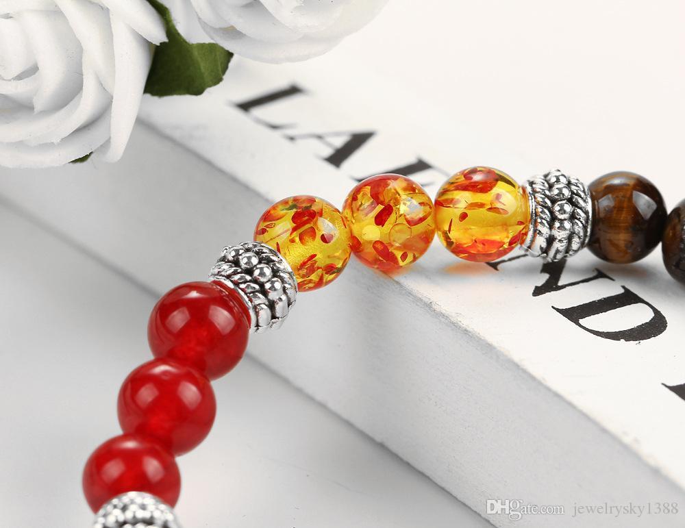 2017 agate volcan bracelets pour les femmes déclaration bijoux mode gros volcan naturel pierre 8mm perles Bracelet bracelets livraison gratuite