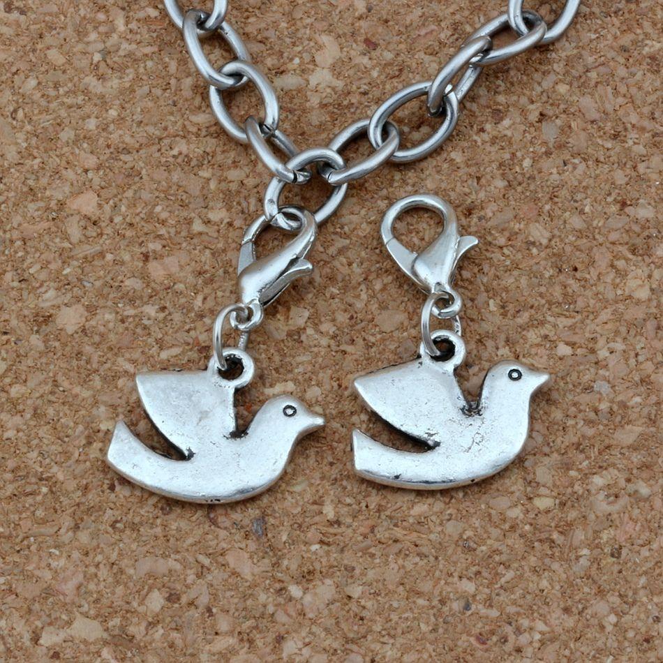 100 Adet / grup Antik Gümüş Barış Dove Kuş Charms Boncuk Istakoz kapat Fit Charm Bilezik DIY Takı ile 17x27.5mm A-250b