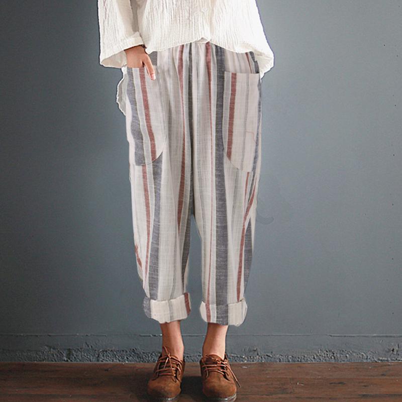 S-5XL mujeres raya de verano pantalones de harén de cintura alta más el tamaño de algodón Femme retro informal sueltos pantalones holgados pantalones casuales ocasionales delgados