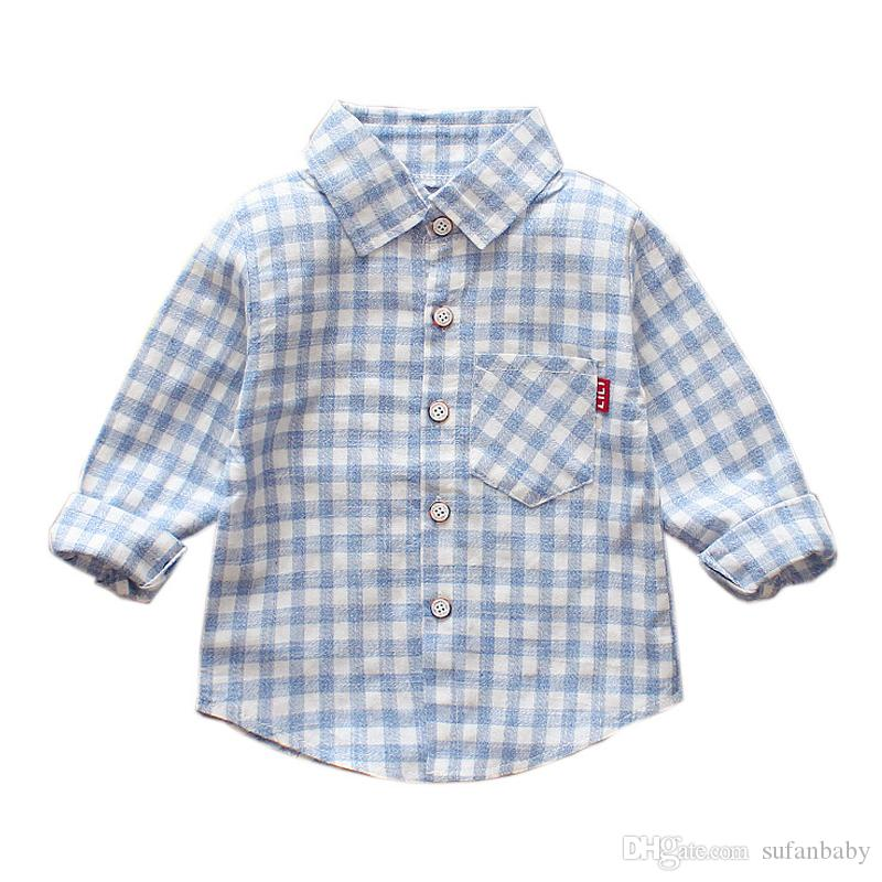 19573e8eb6fa Cute Baby Boy Shirts Long Sleeve Cotton Toddler Shirts Plaid Red Blue  Cartoon Children Tops Turn Down Collar Shirts Spring 2018 Boys Checked  Shirts White T ...