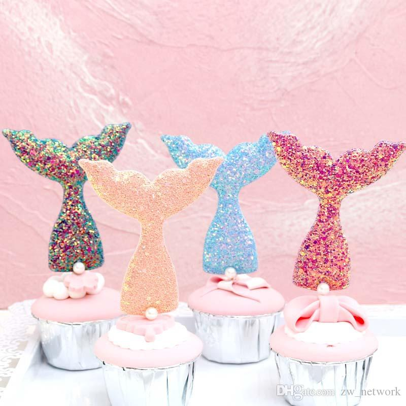 Creative Cute Mermaid Tail Cake decoration Plug-in Shiny sequins mermaid tail with pearl birthday cake tools Party Dessert decors