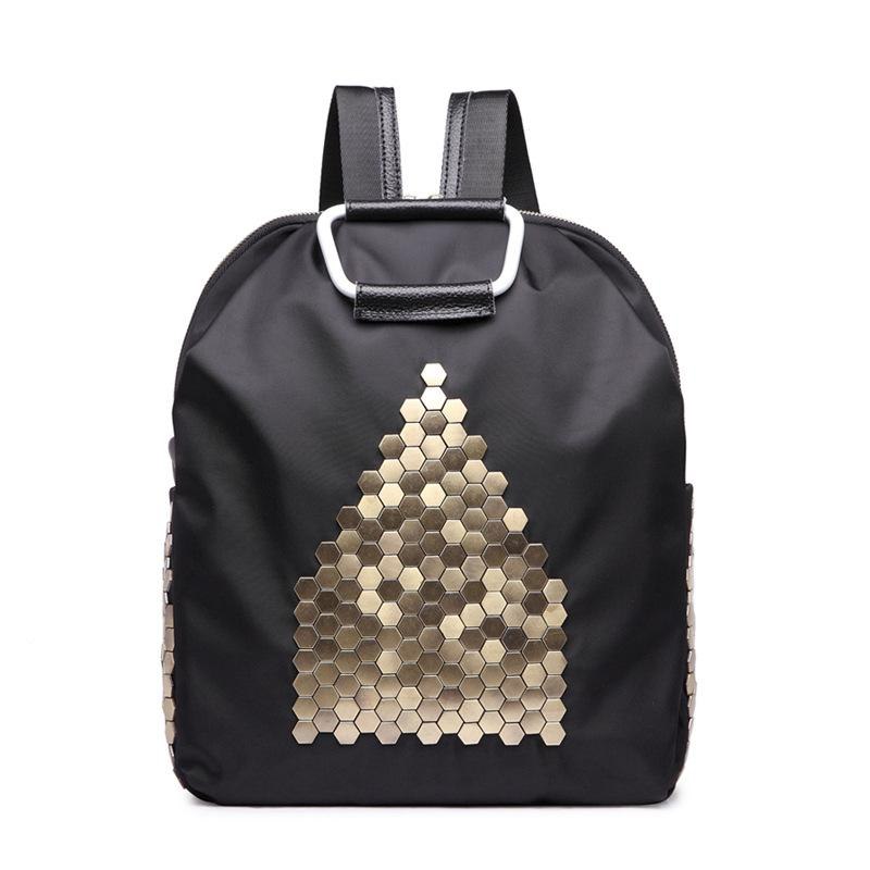 Women Backpack Waterproof Nylon Backpacks Lady Daily Packs Casual Small  Travel Shoulder Bags Fashion Rivet Totes For Girls Black Leather Backpack  Backpacks ... 1077ee90ef