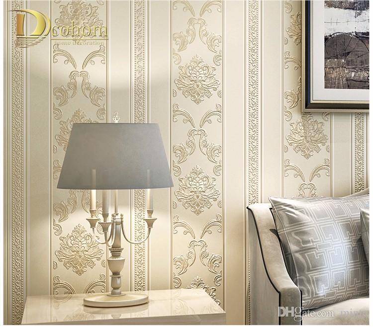 Acheter Papier Peint Damasse Raye Europeen De Gros Moderne Maisons