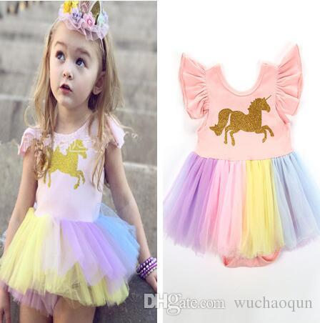 a01b41e09b5a Baby Girls Unicorn Printed Romper Cartoon Rainbow Horse Dress Children Lace  TuTu Fly Sleeve Jumpsuits 2018 New Kids Clothing Rompers Online with ...