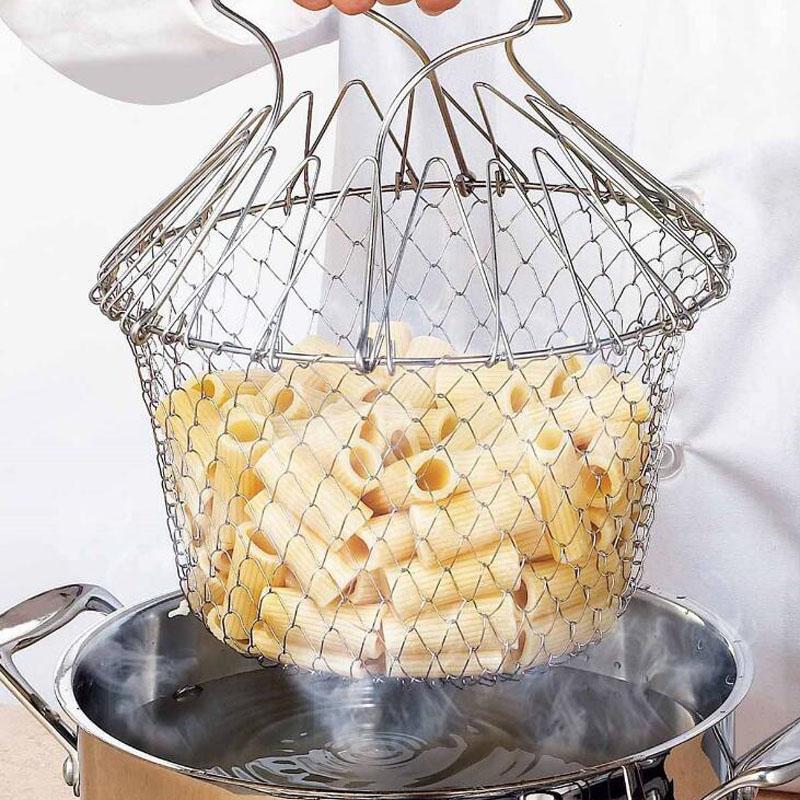 Nuevo acero inoxidable ampliable Cesta de freír plegable Colador de cocina Magic Mesh Basket Colador Net Cooking Steam Rinse Strain Basket