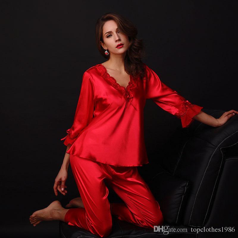 Yüksek kaliteli kadın lüks ipek kadın Dantel Seksi Pijama zarif nakış ince ipek Pijama gecelik set 4 renkler