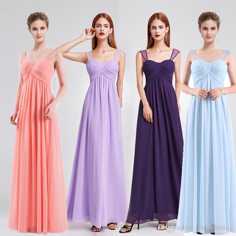 Compre Vestido De Dama De Honor De Gasa Larga Plisada Vestido De ...