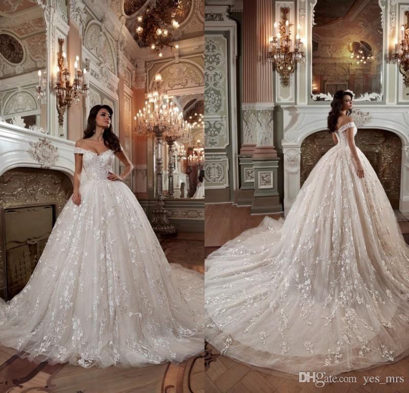 2019 New Luxury Ball Gown Wedding Dresses Off Shoulder Tulle Lace Applique  Beads Satin Chapel Train Long Plus Size Formal Bridal Gowns Wedding Dress  For ... 708254f16213