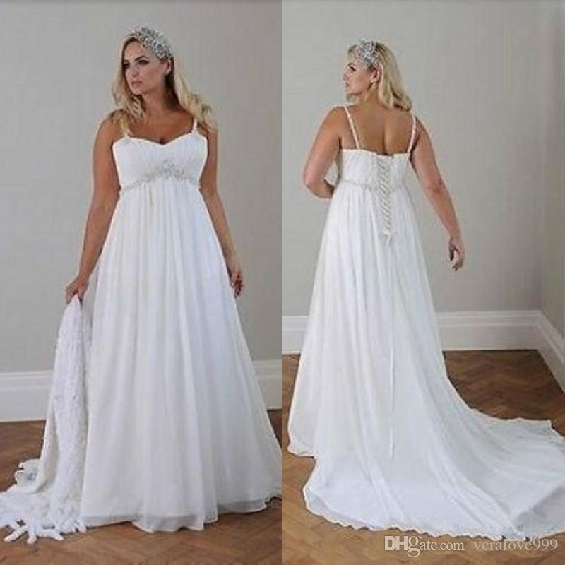 Discount Plus Size Casual Beach Wedding Dresses 2017 Spaghetti Straps Beaded Chiffon Floor Length Empire Waist Elegant Bridal Gowns Unusual