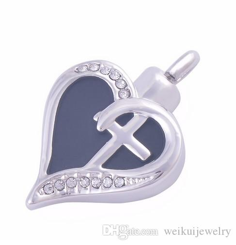 Wholesale custom memory of pet hair remains engraving cremation urn burial urn heart-shaped cross pendant necklace fashion jewelry