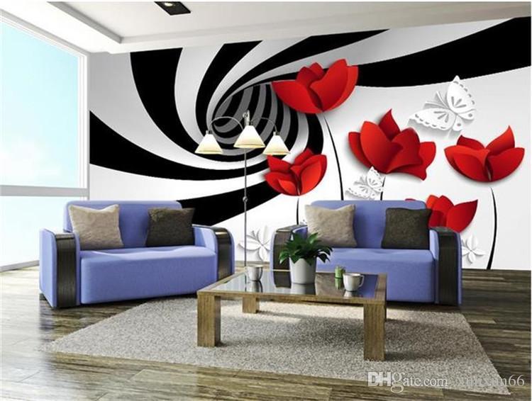 Benutzerdefinierte Foto 3D Tapete Non-Woven Wandbild schwarz weiße Streifen Blumen Dekoration Malerei 3D Wandbilder Tapete für die Wände 3d