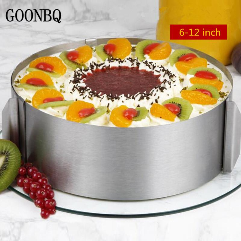2018 Goonbq 6 12 Inch Adjustable Mousse Ring Stainless Steel Round