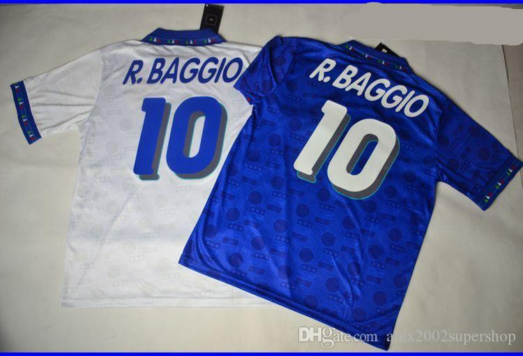 1b787bf9b 2019 94 Italy Roberto Baggio Retro Jersey Football Shirts 1994 Home Blue  Away White Italia Classical Vintage Calcio MAGLIA From Alex2002supershop