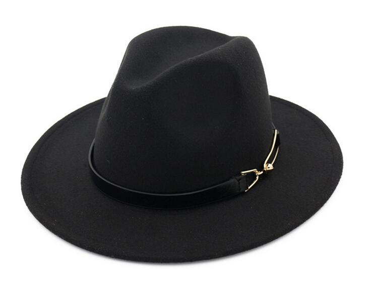 Nova Moda TOP chapéus para mulheres dos homens Elegante moda Sólida sentiu Chapéu Fedora Banda Larga Plana Borda Chapéus de Jazz Elegante Trilby Panamá Caps