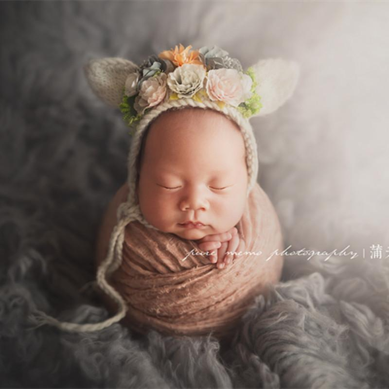 ba6e37042 Hand Knitted baby bonnet flower hat photography props Newborn Bunny bear  bonnet