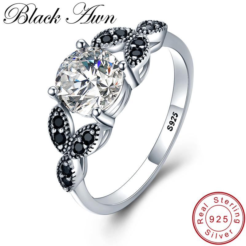 bb70526973c51 [BLACK AWN] Flower 925 Sterling Silver Ring Fine Jewelry Trendy Engagement  Bague Wedding Rings for Women Size 6 7 8 9 10 C035 Y18102510