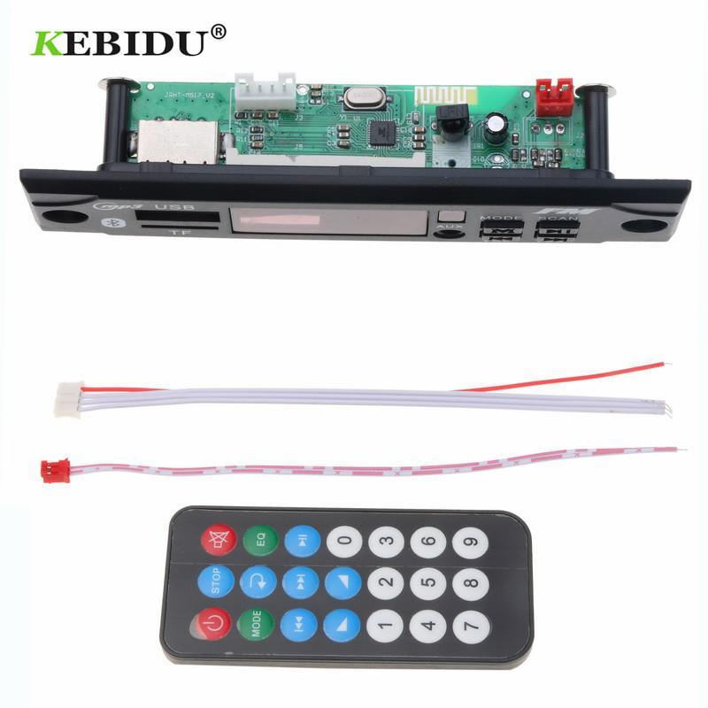 Kebidu Wireless Bluetooth 5V 12V MP3 WMA Decoder Board MP3 Player Car Audio  USB TF FM Radio Module with Remote Control For Car