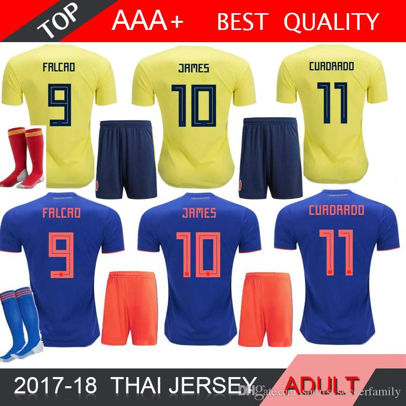 outlet store a8f1e 3cdfd 2018 World Cup Colombia MEN soccer Jersey Adult Kits Colombia M home yellow  FALCAO JAMES CUADRADO Soccer uniform Football Shirts Sets socks