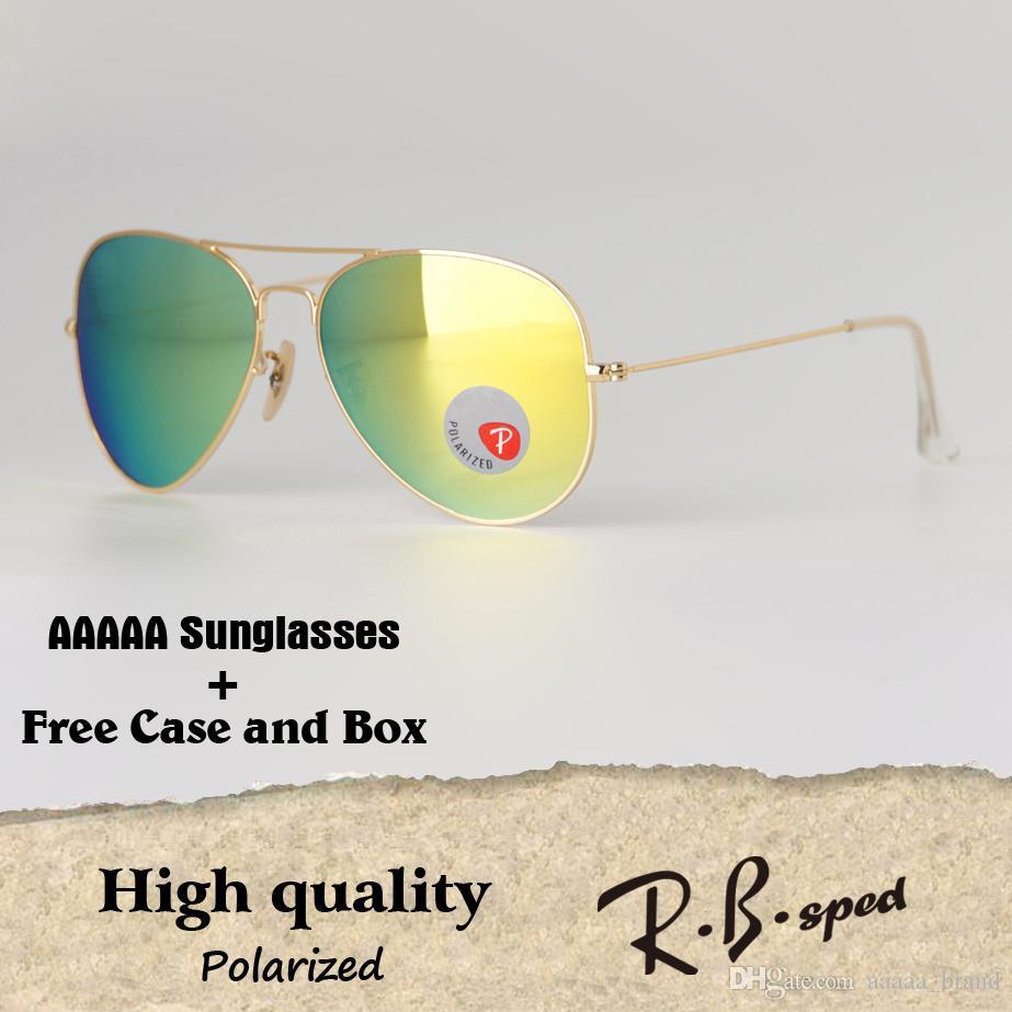 e55006cb4b High Quality Plastic Polarized Pilot Sunglasses Brand Designer Men Women  Sun Glasses Metal Frame Polaroid Lens With Cases And Box Prescription  Sunglasses ...