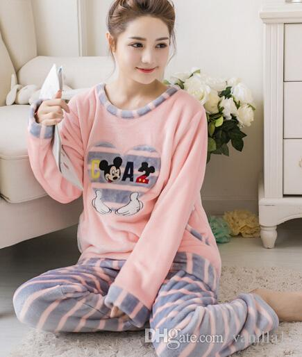 2019 Wholesale Women Winter Thickening Flannel Female Pajamas Long Sleeved  Warm Pajamas Homewear Comfort Female Sleepwear Sets S2885 From Vanilla15 4341ee104