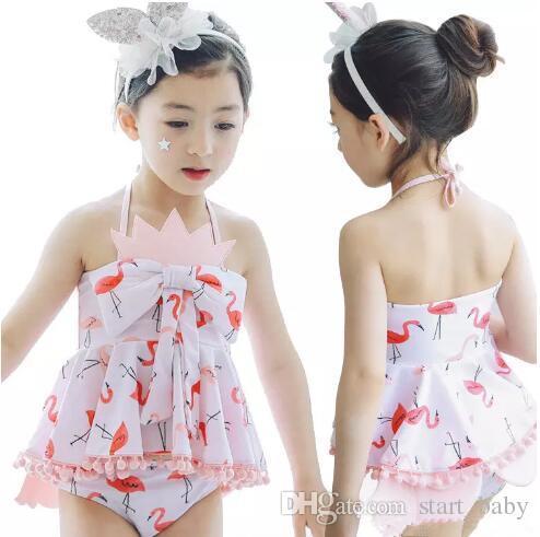c4b45a115c 2019 Baby Girls Swimming Sets Cartoon Flamingo Swimwear Suits Girl Sun Bathing  Swimwear Sets Tops Underpant Shorts With Hat B11 From Start_baby, ...
