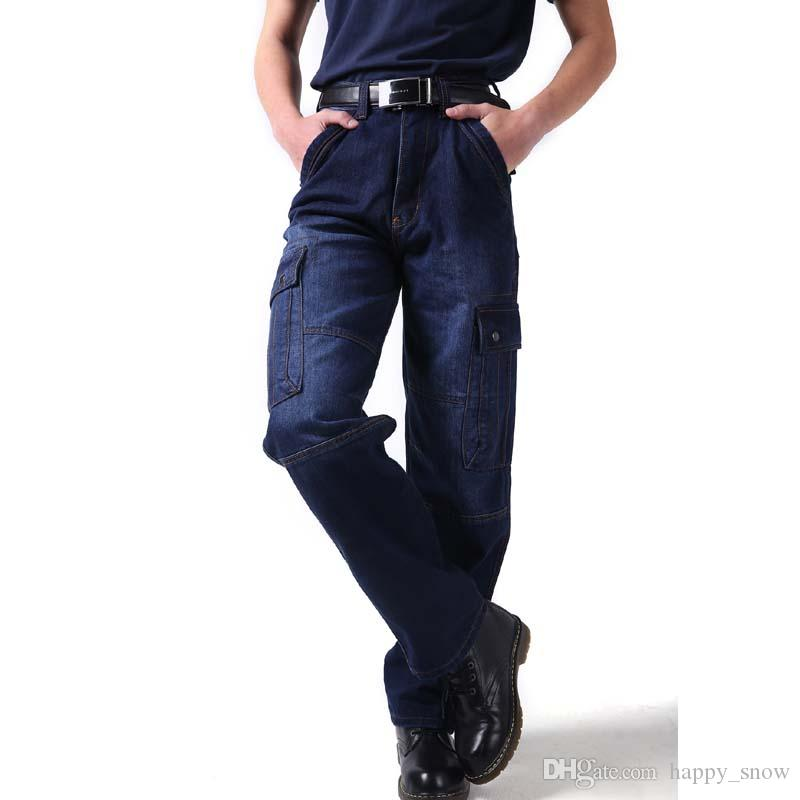 670c72625b Compre Más El Tamaño 46 Hombres Pantalones Vaqueros De Mezclilla De Los Hombres  Flojos De La Manera Pantalones De Carga Largos Ocio Holgado Overoles ...