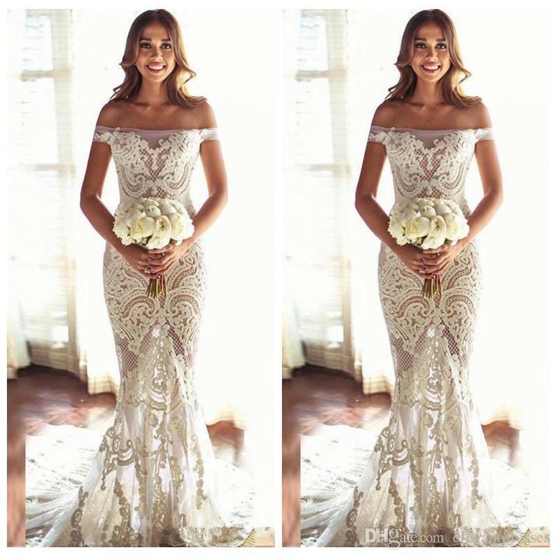 Bateau Short Sleeves Slim Lace Appliques Bridal Mermaid Wedding Dress Exquisite Lace Appliques See Through Off Shoulder 2018 Vestidos