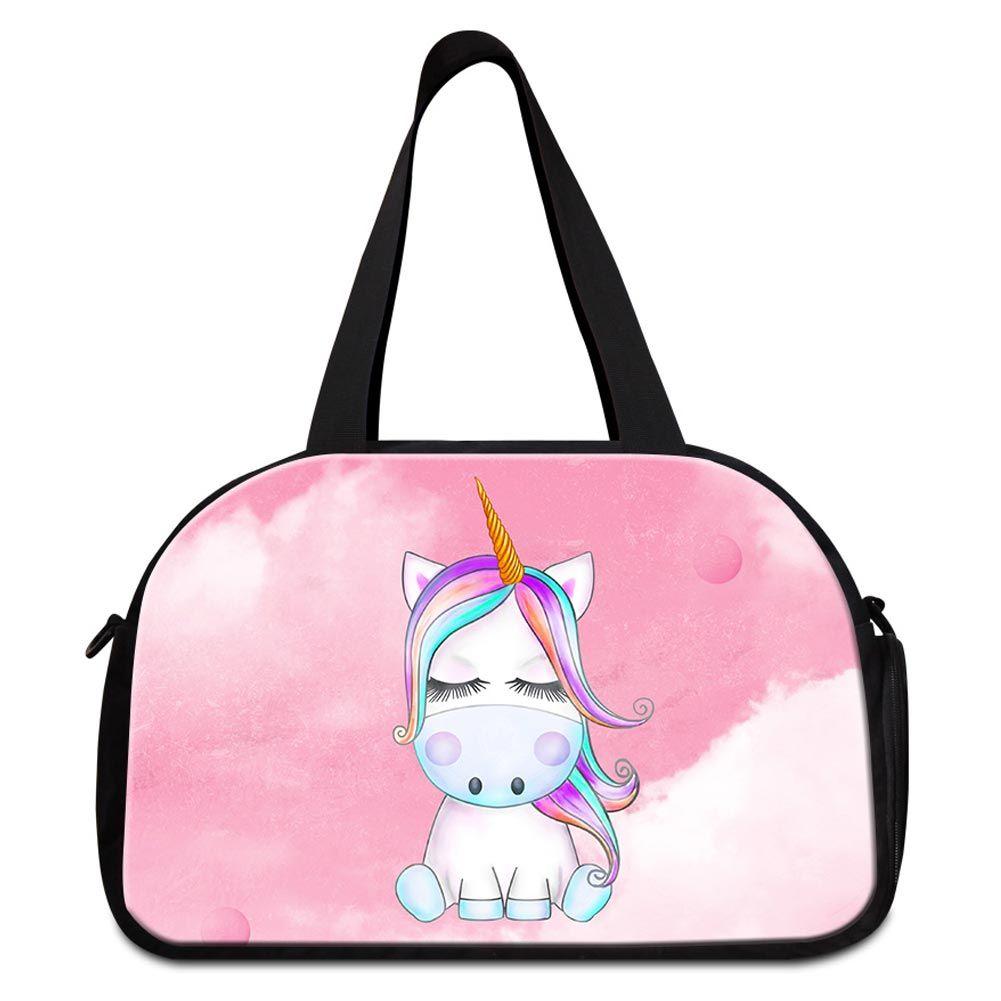 Women s Travel Bags Unicorn Animal Printed Duffle Bag For Teenage ... 1cdc41a72d5f6