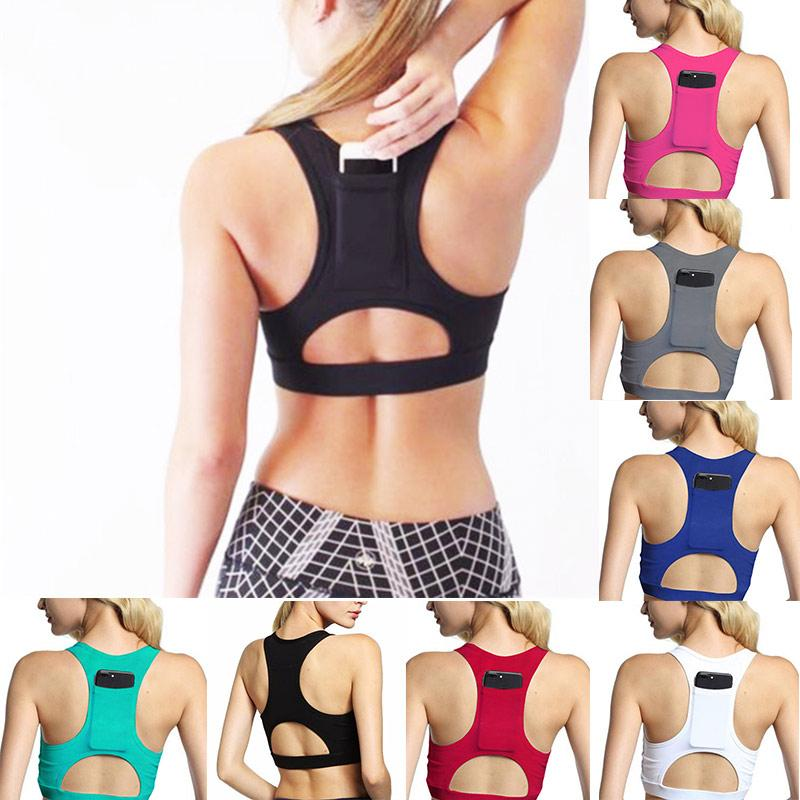 d31ceb2707b25 2019 Women Sexy Back Phone Pocket Sports Bras Hollow Out Shockproof Padded Push  Up Yoga Bra High Impact Back Pocket Sport Underwear From Monida