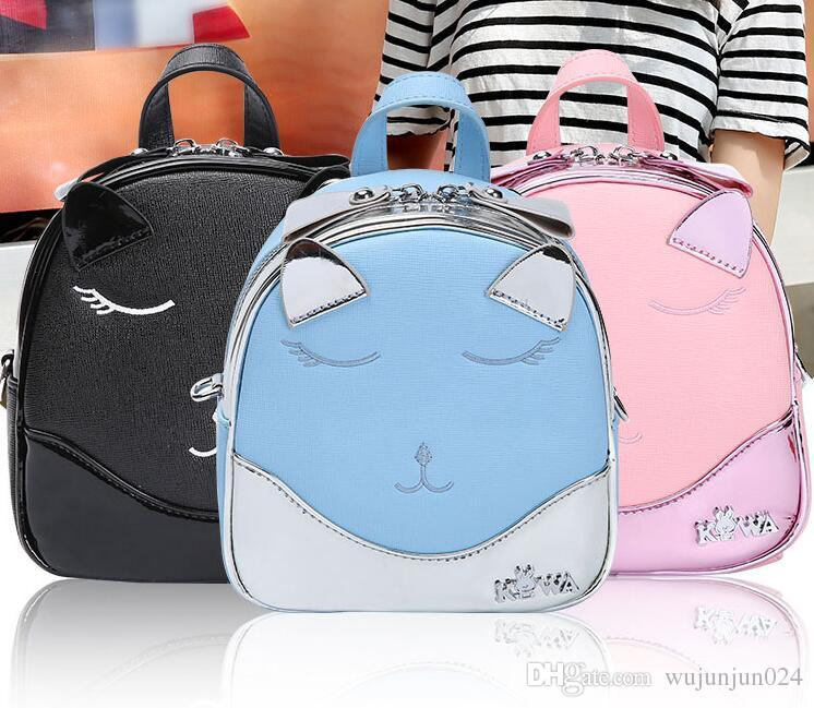 Cute Backpack Mini Shoulder Bag Student School Bags For Girl Cat design Feminine Backpack