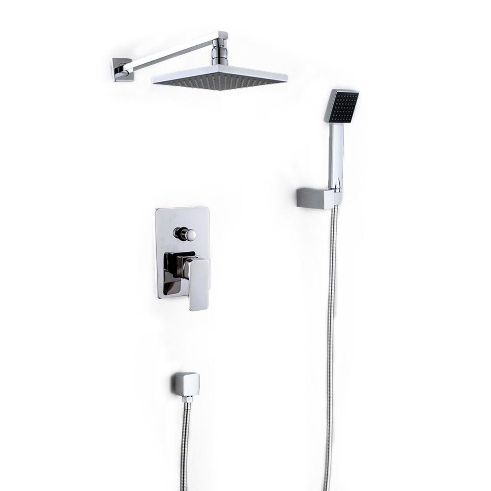 Elegant Online Cheap Wall Mounted Rainfall Shower Head Arm Control Valve Handspray  Faucet Set Bathroom High Pressure Shower Set By Rosaling | Dhgate.Com