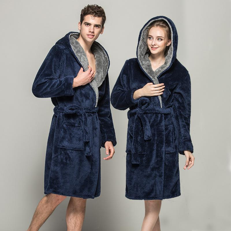 2018 Winter Lovers Thermal Hooded Thick Flannel Bathrobe Solid Warm ...