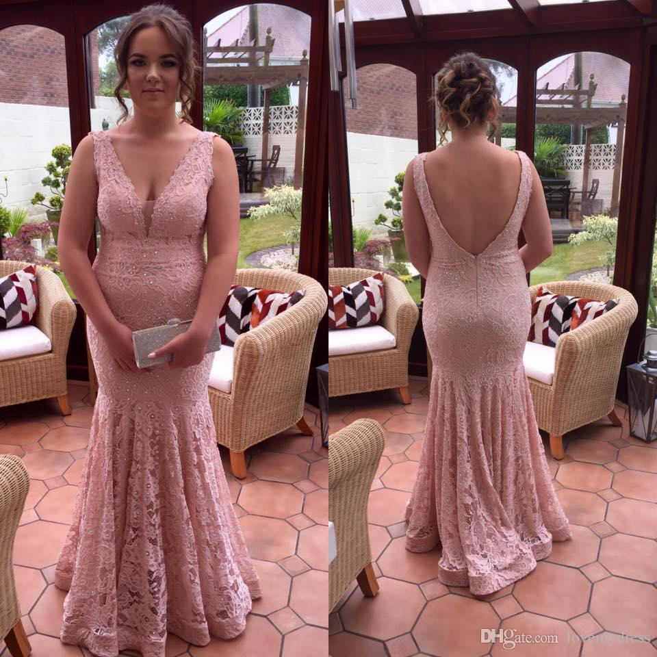 68b4a8a3949d Lace V Neck Dresses For Women Evening Party Formal Gowns Blush Pink ...