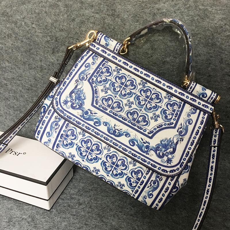 Blue And White Porcelain Designer Print Sicilian Bag Women Platinum Tote Bag  Ethnic Female Shoulder Bag Handbag Original Quality Designer Handbags Totes  ... fa5e99942f