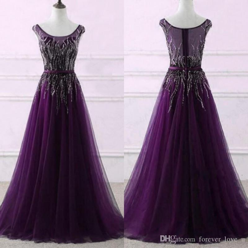 ea31c076f03 Gorgeous Dark Purple Prom Dresses Scoop Neck Sleeveless Luxury Beading A  Line Tulle Evening Party Gowns Zipper Up Formal Dress With Sash White Short  Prom ...