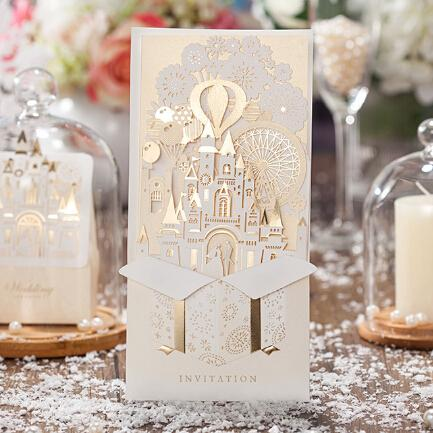 WISHMADE 2D gold castle design wedding cards laser cut invitation cards CW5093