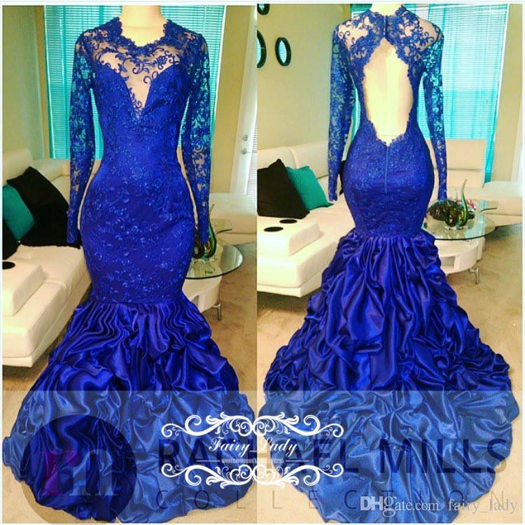 9ac0e7a9ada Royal Blue Sheer Lace Appliques Draped Mermaid Prom Dresses With Long  Sleeves 2018 Sexy Open Back Illusion Bodice Jewelry 2k17 Evening Dress  Classy Prom ...