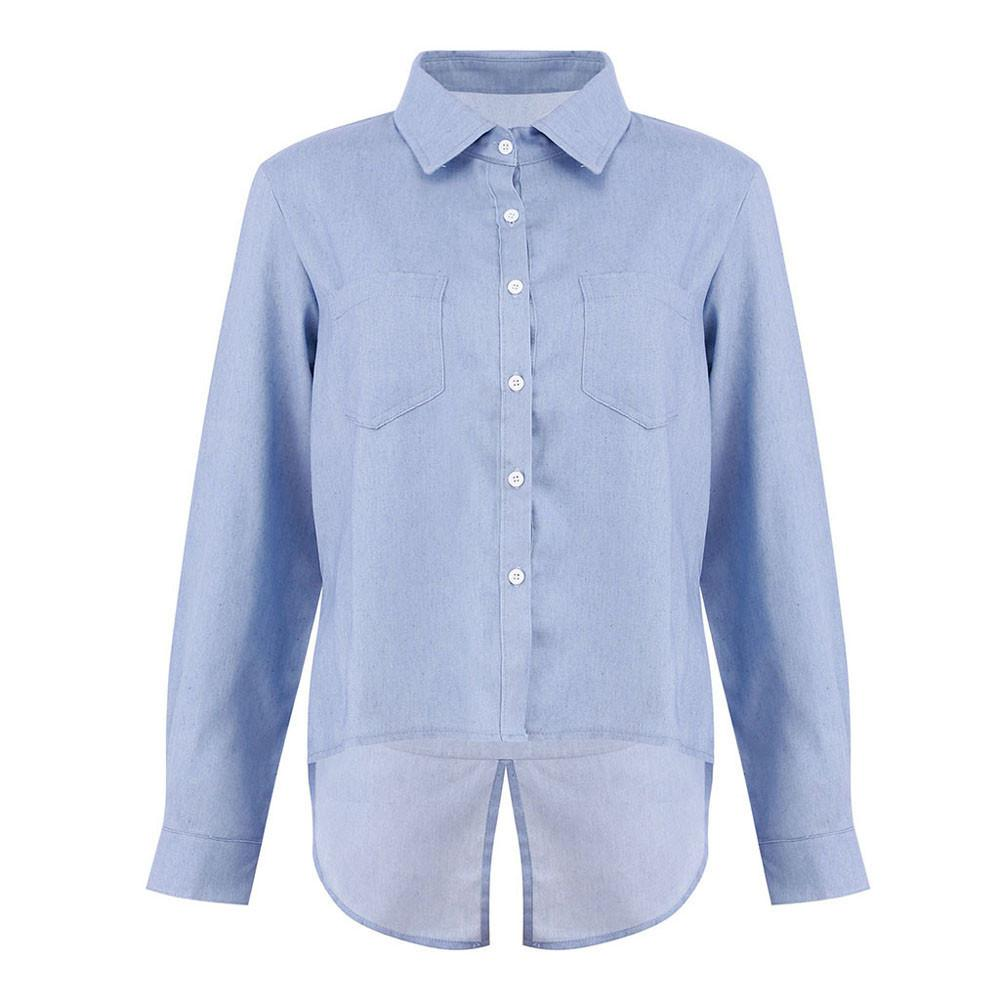 25ac428221 2019 MUQGEW Denim Shirt Female Long Sleeve Womens Long Sleeve Cotton Casual  Denim OL Shirts Ladies Button Womens Classic Tops Blouse From Paluo