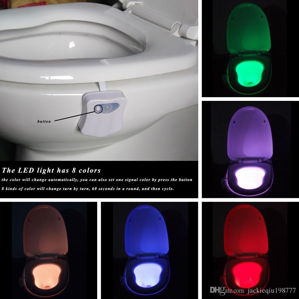 Kapalı Yenilikçi Aydınlatma 8 Renkler Akıllı Gece Işığı Banyo Tuvalet LED Vücut Hareket / Kapalı Koltuk Sensör Işık Tuvalet Lambası Açık Aktive