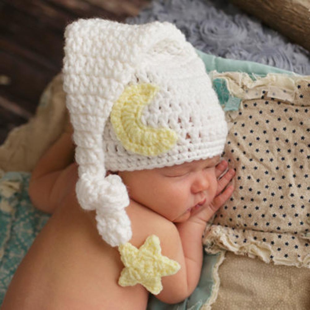 New Lovely Baby Handmade Beanies Hat Newborn White Crochet Knitted Costume Long Tail Hat Caps Newborn Photography Props Cap 0-4M
