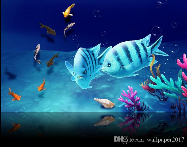 wallpaper roll Ocean submarine tropical fish floor tiles three-dimensional painting wall papers home decor