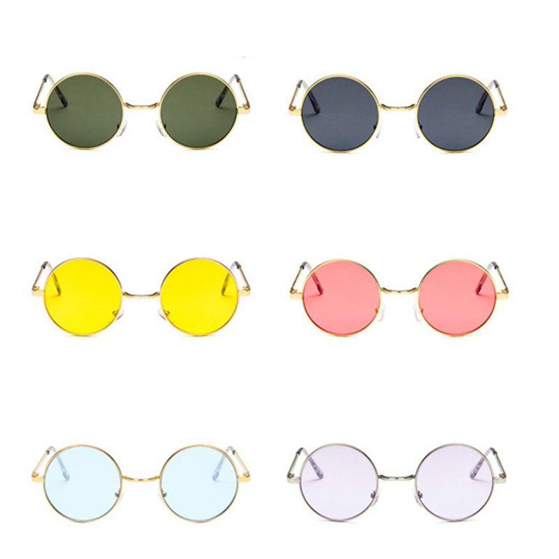 Circle Ocean Lens Design Uv400 Women Mirror Brand Glasses Vintage Color Frame Female Round Metal Sunglasses PXnwN80kO